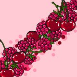 Pink background with berries Royalty Free Stock Image