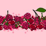 Pink background with berries Stock Images