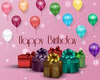 Pink background birthday of party with color balloons and gift boxes Stock Photo