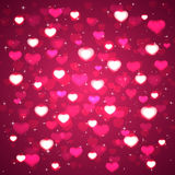 Pink background with blurry hearts. And stars, illustration Royalty Free Stock Image