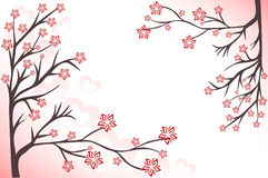 Pink background with branches. Abstract background with pink flowering branches and hearts Royalty Free Illustration