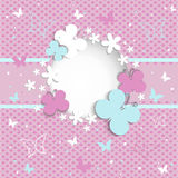 Pink background with butterflies on the frame Royalty Free Stock Photos