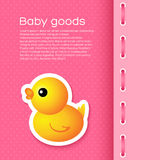 Pink Background with Cartoon Duck Stock Photo