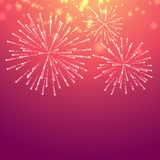 Pink background with celebration fireworks Royalty Free Stock Photography