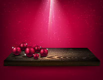 Pink background with Christmas balls. Pink background with Christmas balls on wooden shelf. Vector illustration Royalty Free Stock Photography
