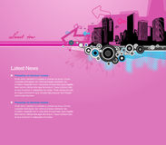 Pink background with city and place for your text. Royalty Free Stock Photos