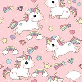 Pink background cute unicorns with stars hearts and clouds jumping and sitting with colorful hair. royalty free illustration