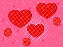 Pink background with decorative red hearts Royalty Free Stock Image