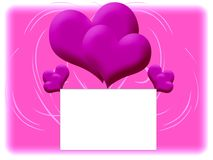 Pink background with double hearts Stock Photo