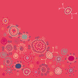 Pink background with ethnic flowers Royalty Free Stock Image