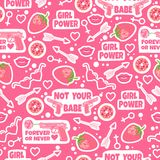 Pink background with fashion elements. Seamless pattern with strawberry, kiss, lips, donuts, arrow, hearts, gun, food, sunglasses. Girl power. Not your babe Stock Photo