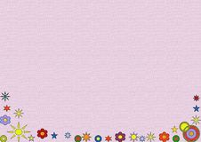 Pink background with a floral decoration. Pink textured background and a floral decoration Stock Image