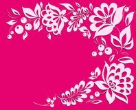 Pink background with a floral frame. Stock Images