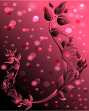 Pink background with floral ornament Royalty Free Stock Images
