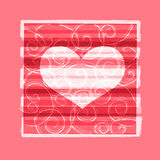 Pink background with flourishes and heart Royalty Free Stock Photo