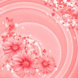 Pink background with flowers Royalty Free Stock Image
