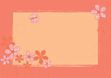 Pink background with flowers and butterfly royalty free illustration