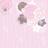 Pink background with flowers Stock Image