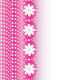 Pink background with flowers of pearls and place for text Stock Photos