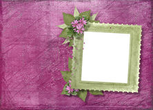 Pink background with frame and floral bouquet Stock Photos