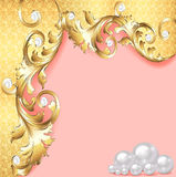 Pink background with gold ornaments and pearls Stock Photography