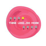 Pink background grunge and light bulb quote think less do m Stock Photography