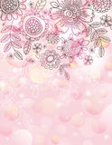 Pink background with hand draw flowers royalty free illustration