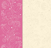 Pink background with hand drawn flowers Stock Photo