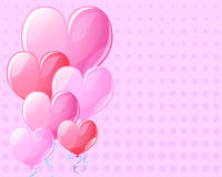 Pink background with heart air balloons. Vintage card template for Valentine Day with text place. Stock Images
