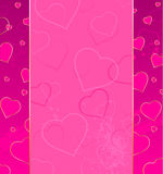 Pink background with hearts. Pink background with decorative gold and light hearts plastered with bright pink paint drop Royalty Free Stock Image