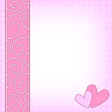 Pink background with hearts and curls Royalty Free Stock Photos