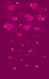 Pink background with hearts. Falling effect. Sparks Royalty Free Stock Images