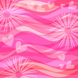 Pink background with hearts and flowers Royalty Free Stock Photos