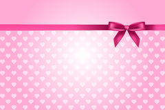 Pink background with hearts pattern and bow vector illustration