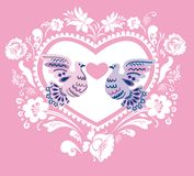 Pink background with hearts and pigeons Stock Photography
