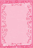 Pink background with hearts. Pink scroll Royalty Free Stock Images