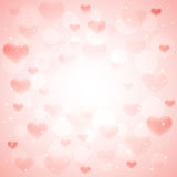 Pink background with hearts. Hearts and shiny stars on pink background, illustration Stock Images