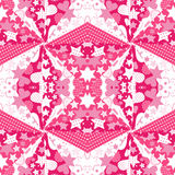 Pink background with hearts and stars. Caleidoscope pattern Royalty Free Stock Image