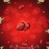 Pink background with hearts and vintage elements. Valentines Day. Stock Photography