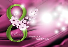 Pink Background for Holiday March 8 International Women`s Day with flowers, petals and green Digit eight. Vector. Illustration vector illustration