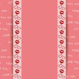 Pink background with kiss and hearts - vector love you Royalty Free Stock Images