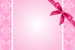 Pink background with lace and bow. Vector ornate pink background with lace and bow Royalty Free Stock Photo