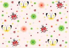 Pink background of ladybirds, butterflies, flowers Stock Photos