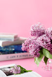 Pink background with lilac flowers. abd books. greeting card Royalty Free Stock Images