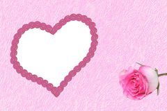 Pink background with love heart frame and rose Stock Image
