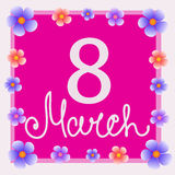 Pink background 8 march with flowers. Vector illustration. Vector 8 of March Woman`s Day . Pink background with silhouettes, text and flowers. Vector Stock Images