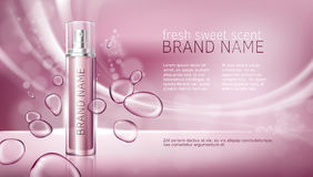 Pink background with moisturizing cosmetic premium products Royalty Free Stock Photos