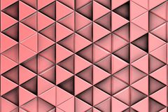 Decorative pink relief with triangles and shadows. Pink Background with ordered triangles forming shadows 3d Royalty Free Stock Image
