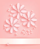 Pink background with paper flowers and pearls. Handmade greeting card decorated with paper flowers and beads. Vector Royalty Free Stock Image