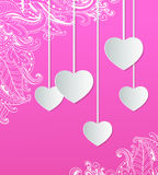 Pink background with paper hearts Stock Photos